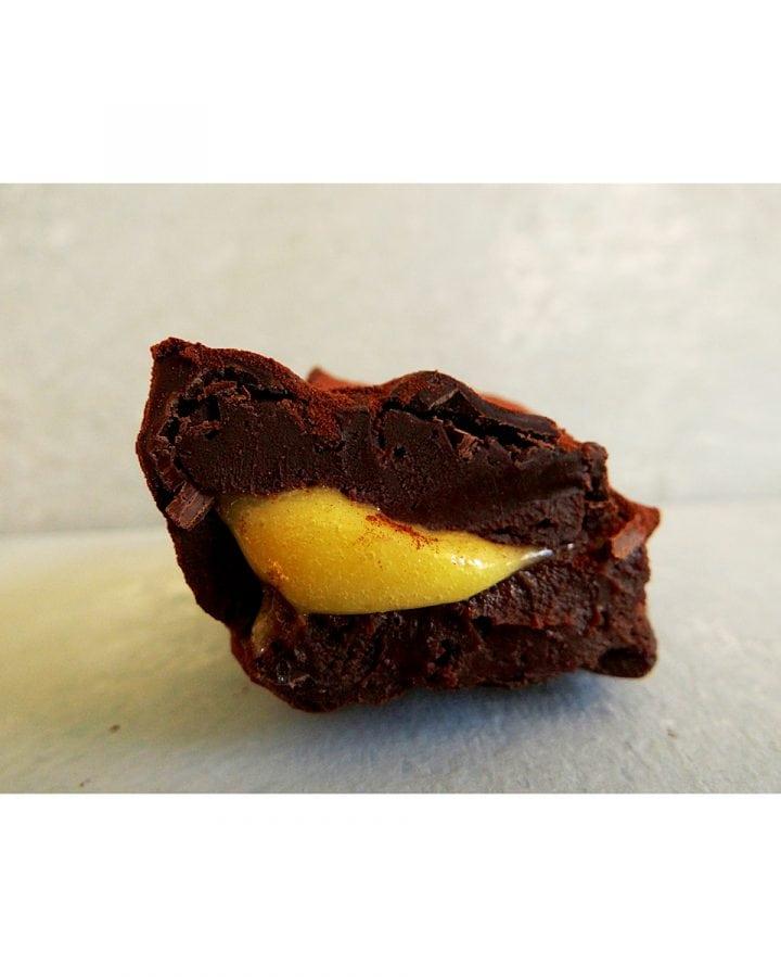 chocolate and orange truffles cut in half