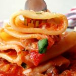 paccheri on a fork