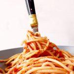 pasta rolled on fork