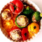 tomatoes and zucchinis with meat stuffing