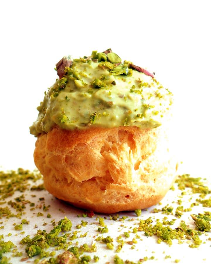 chou bun with green glaze