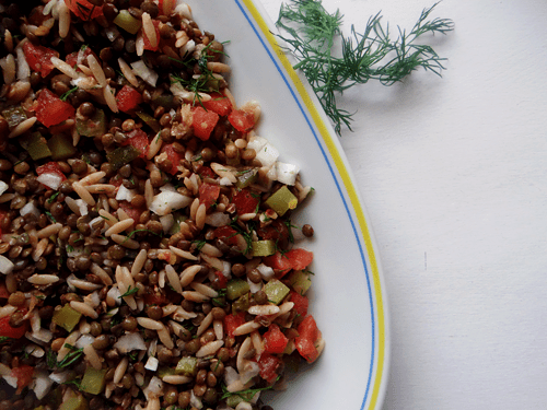 green lentil salad and dill