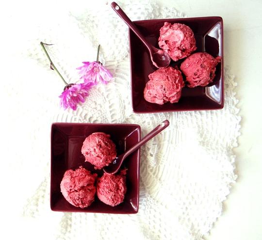 homemade raspberry ice cream on plates