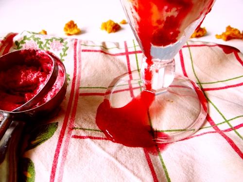 raspberry sauce on napkin