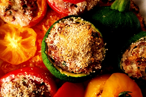 stuffed vegetables in a tray