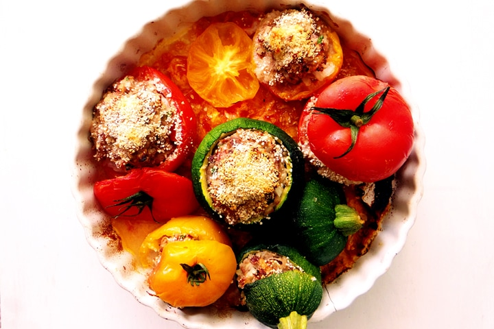 tomatoes zucchinis and breadcrumbs