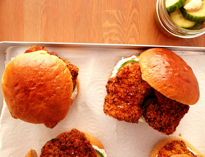 tray of fried chicken burgers