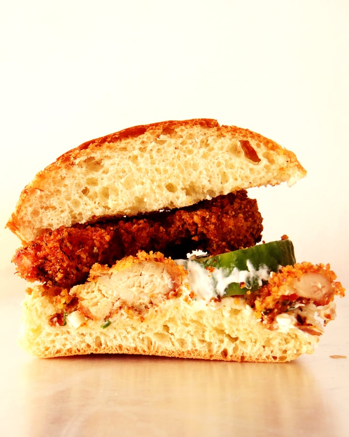 fried chicken burger on tray