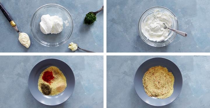 yogurt sauce and breadcrumbs