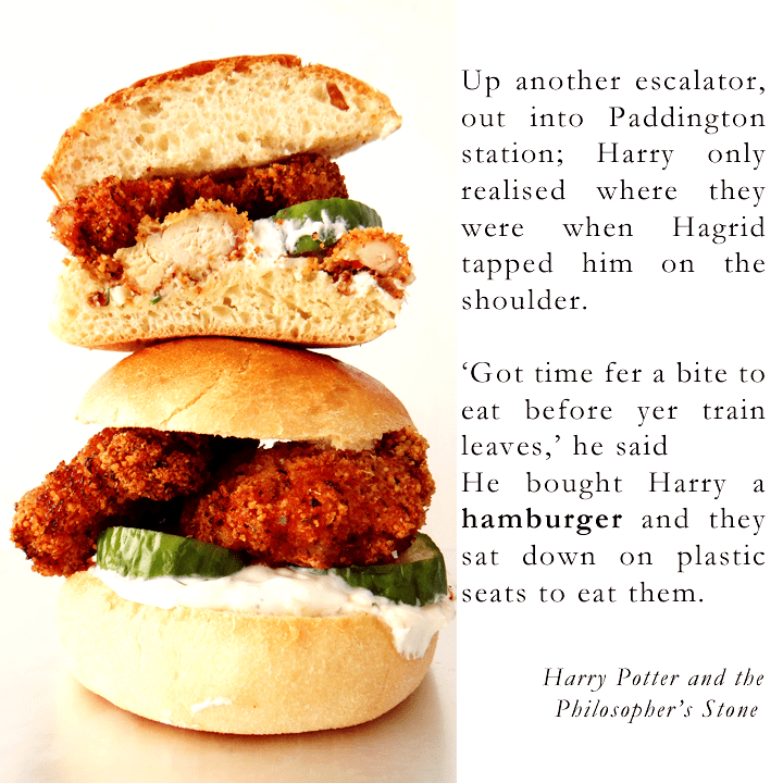 fried chicken burger and quote
