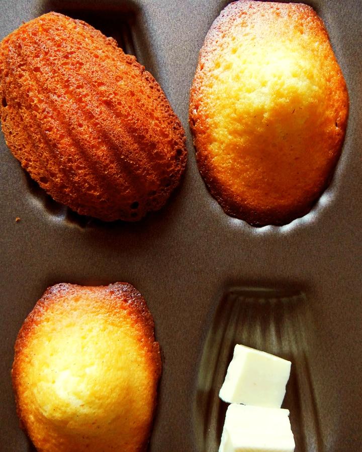 madeleines au chocolat blanc sur moule