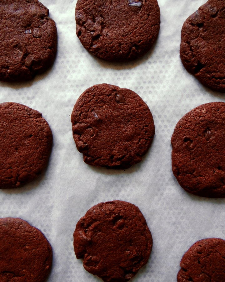 chocolate sables on tray