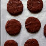 chocolate sables on baking tray