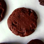 chocolate sables on a baking tray