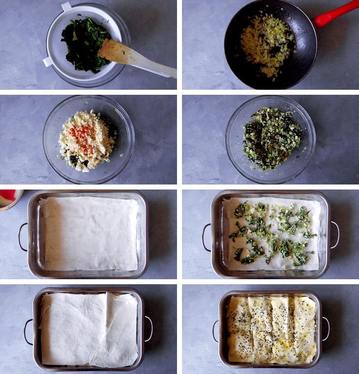 instructions pour börek aux épinards
