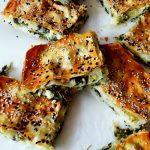 spinach borek cut in pieces