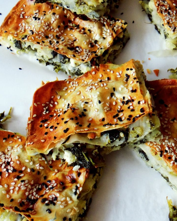 spinach borek on baking parchment