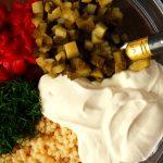 ingredients of creamy pasta salad