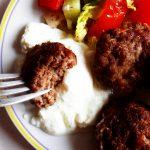 koftes on a fork