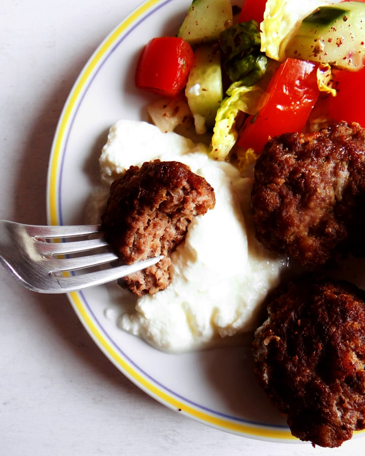 koftes on a plate