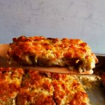 slice of zucchini gratin on spoon