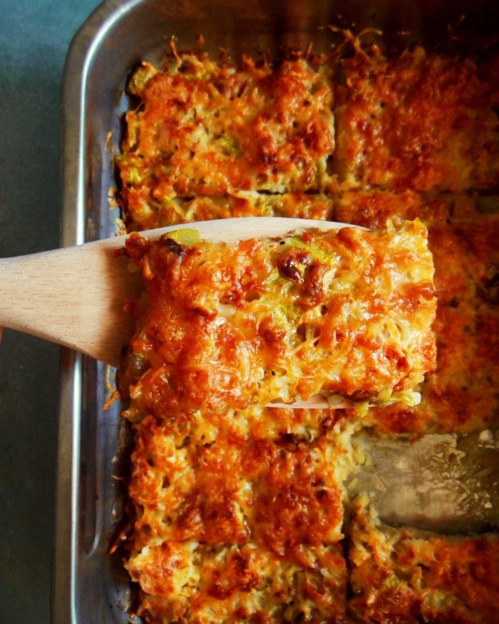 zucchini tian on spoon