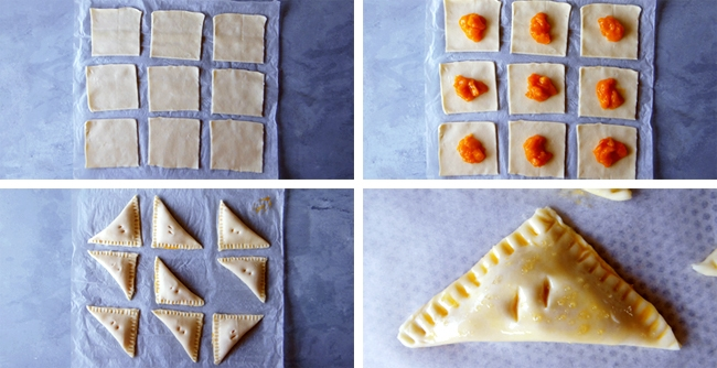 apricot turnovers being folded