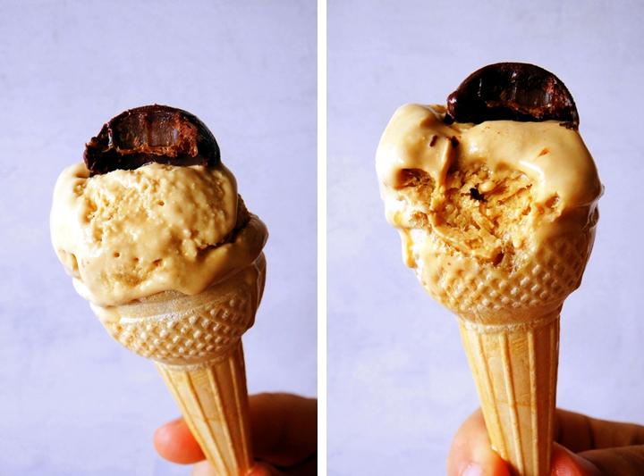 glace au caramel sur cornets