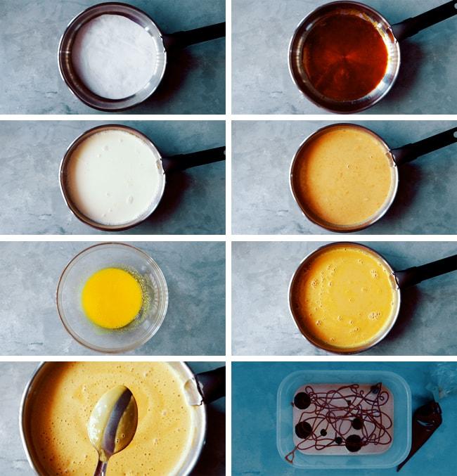 homemade caramel ice cream in pan