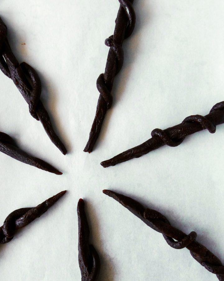 licorice wands on baking tray