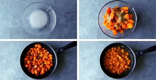 stewed apricots in pan