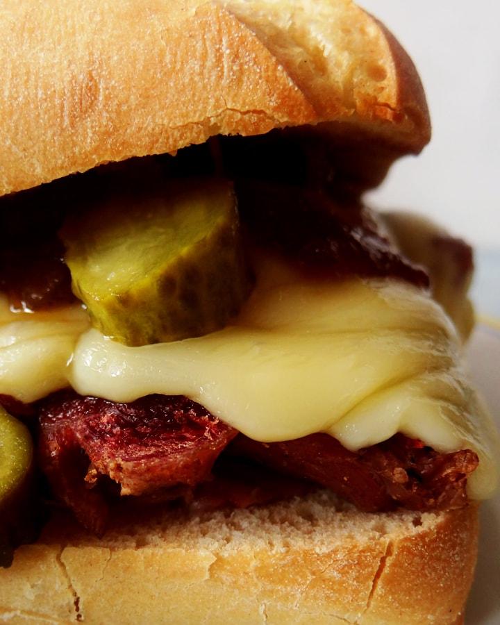 corned beef sandwich on plate