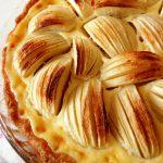 french apple tart in pan