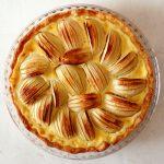 french apple tart on board