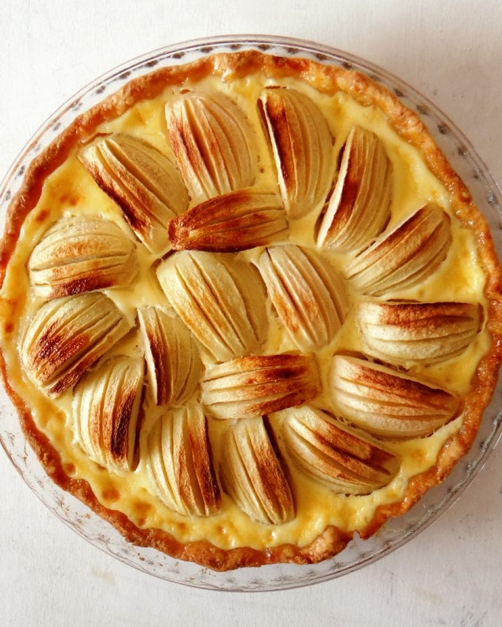 french apple tart in mold
