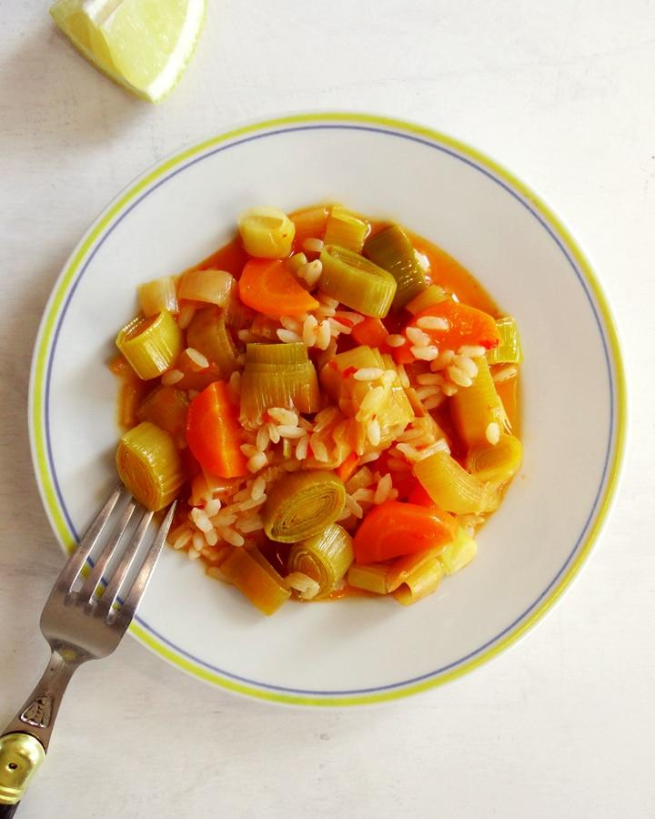 assiette avec poireaux braisés