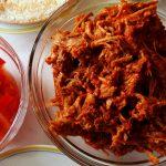 shredded pork tacos components