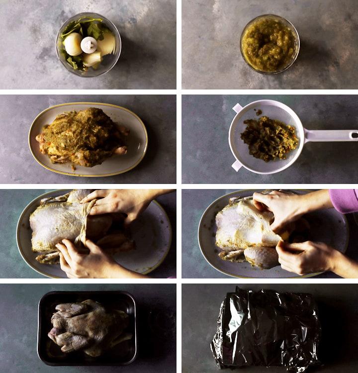instructions poulet mariné au four