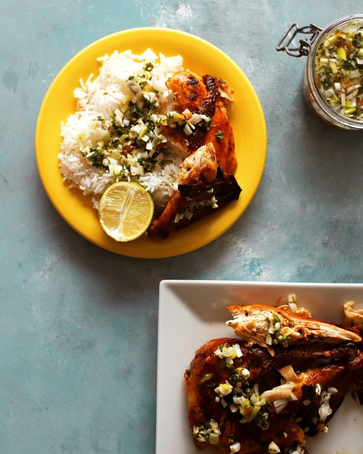 poulet mariné au four avec riz