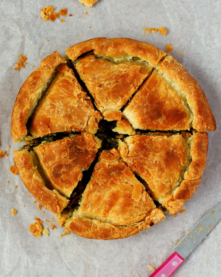 sliced spinach and cheese pie