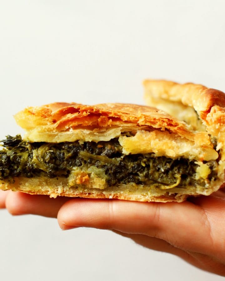 slice of spinach and cheese pie
