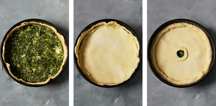 spinach and cheese pie in mold