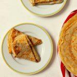 crêpes on white plates