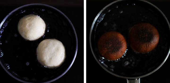 donuts frying in a pan