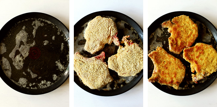 instructions cuisson côtes de porc panées
