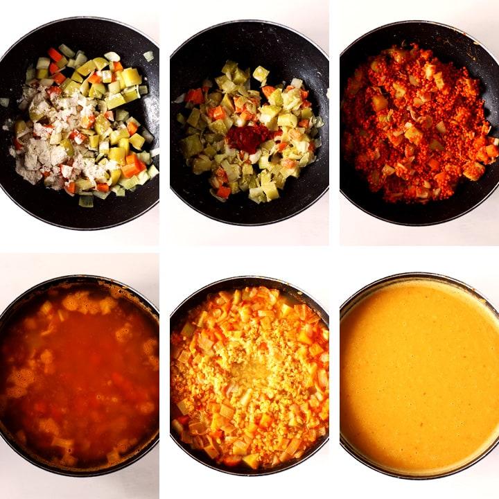 instructions pour soupe de lentilles turque