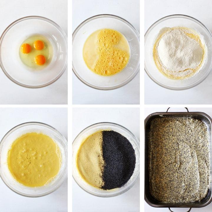 etapes gâteau au pavot