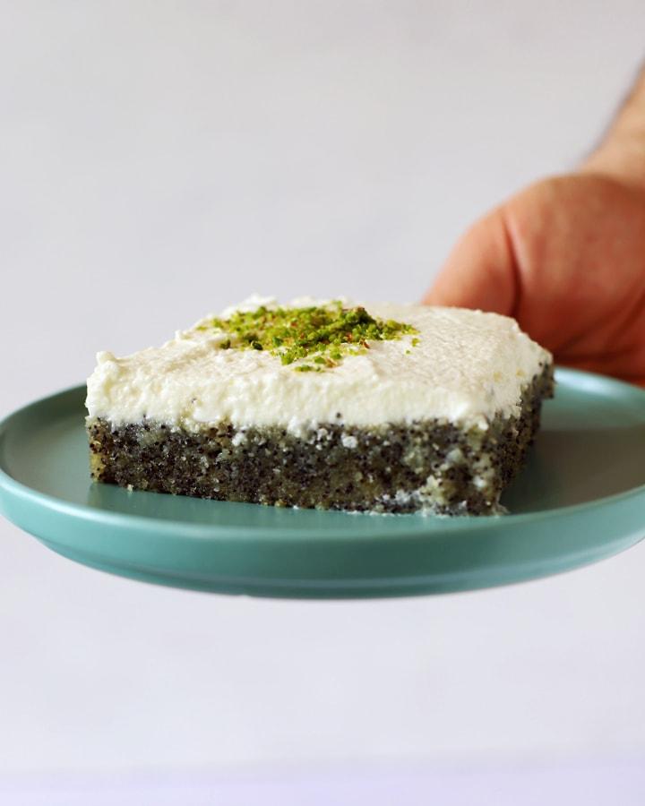 tranche de gâteau au pavot