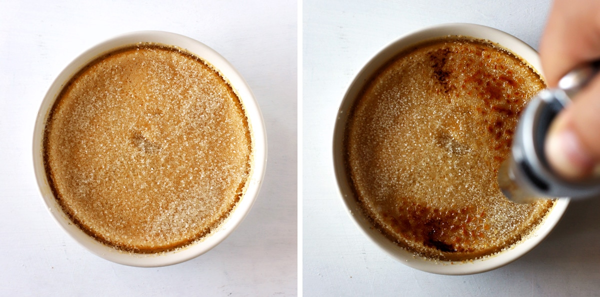 caramélisation d'une crème brûlée pour 2