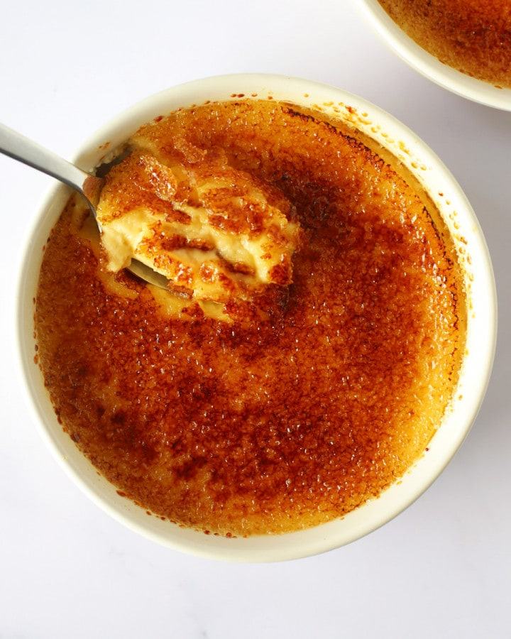 ramekin with crème brûlée for 2